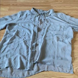 Sheer long sleeve button up